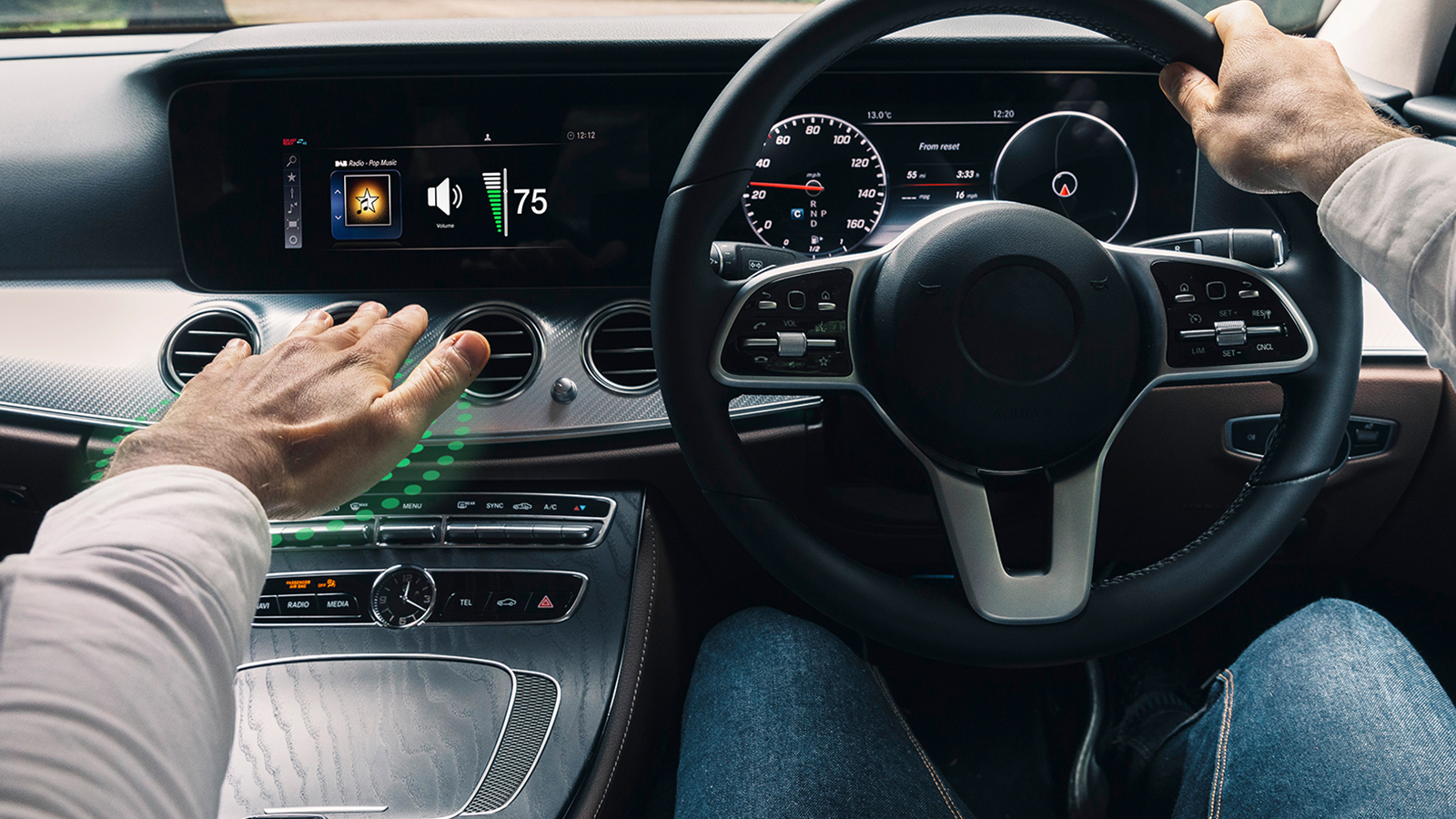 Automotive interior with green particles