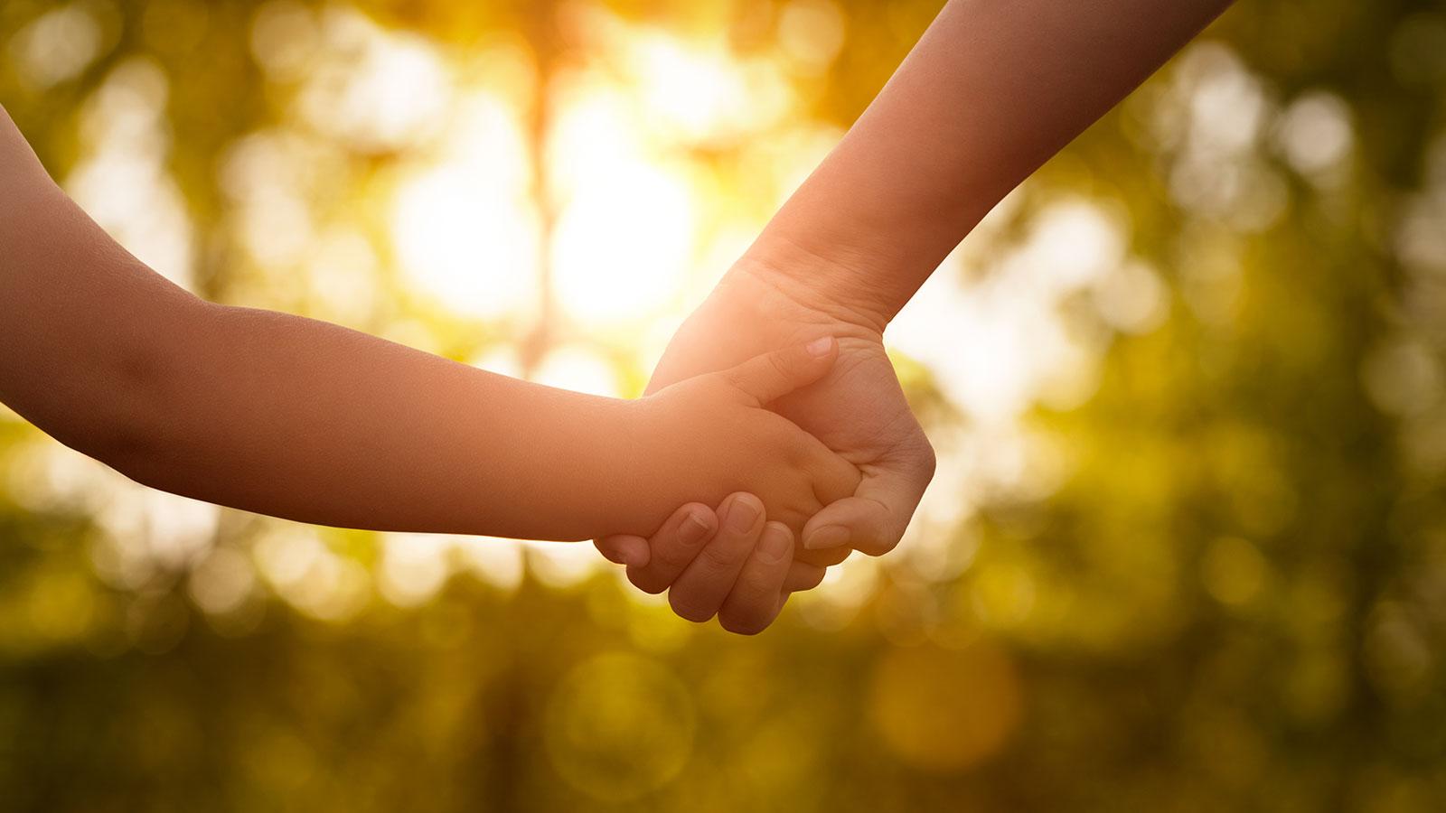 Holding hands sunlight through trees