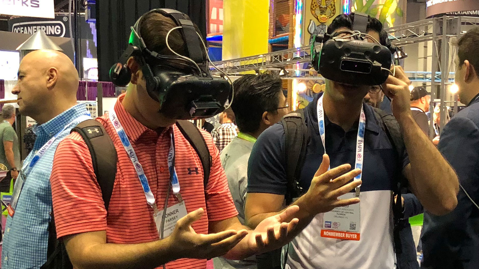 People at IAAPA experiencing Ultraleap technology