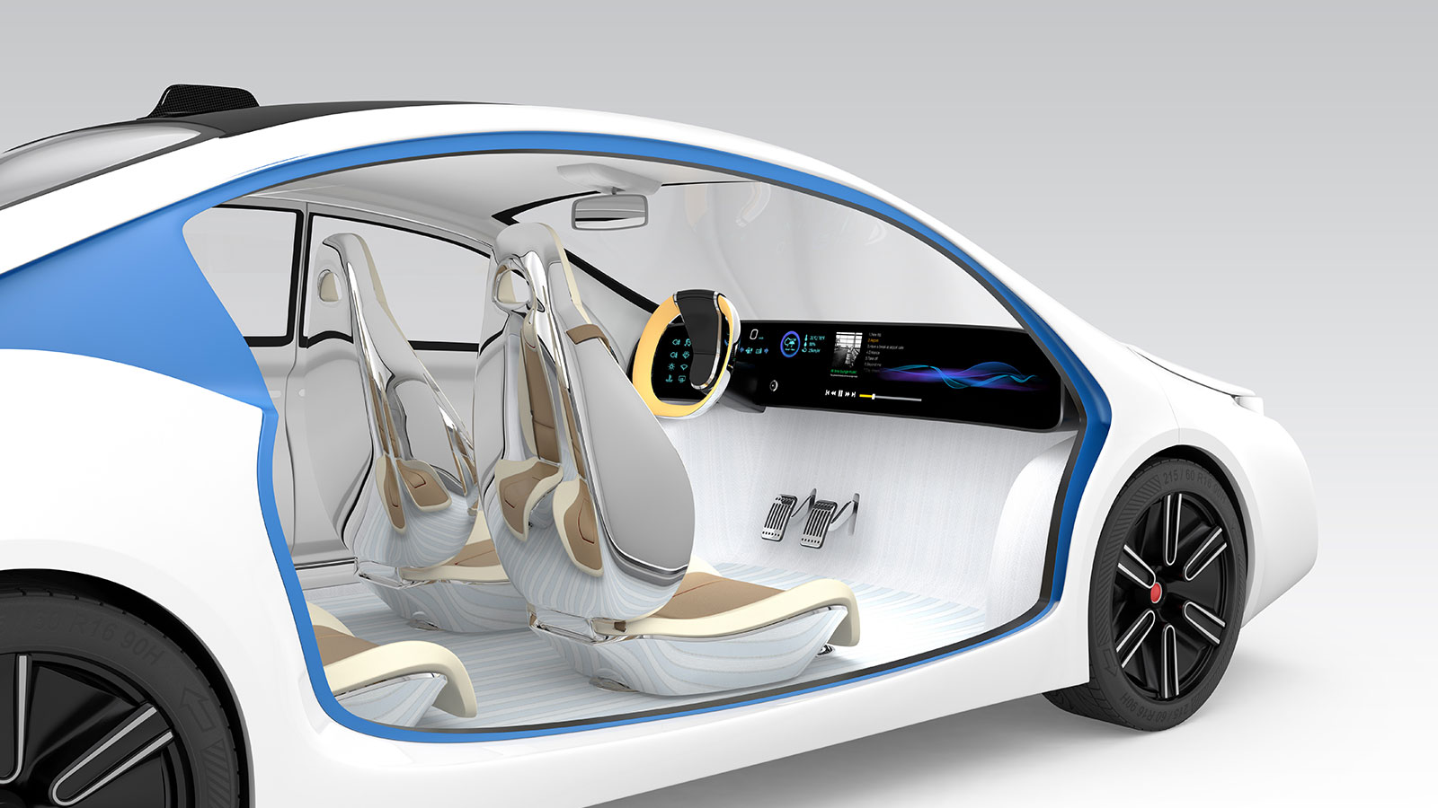 interior of a white futuristic car