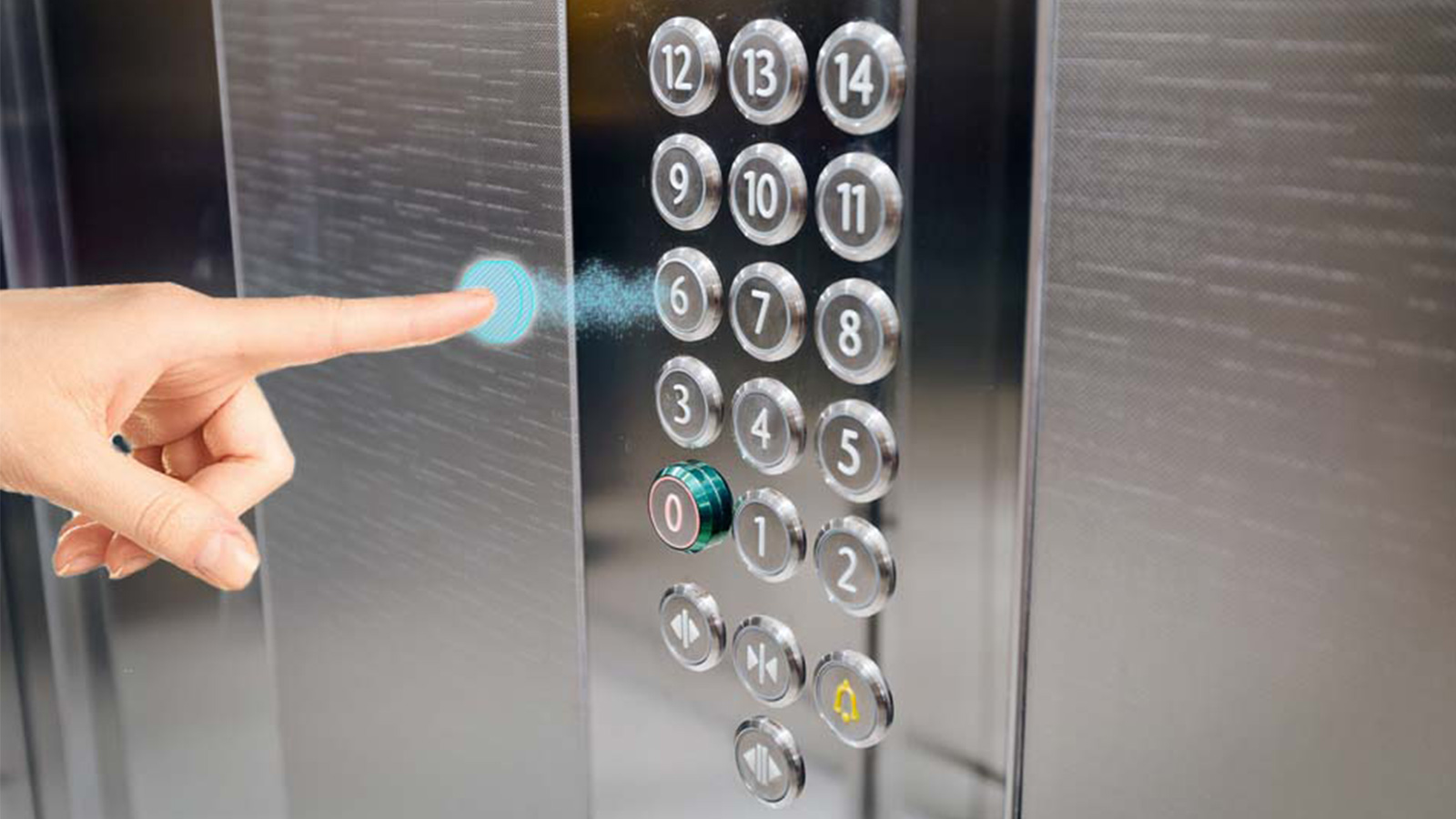 Touchless elevator button