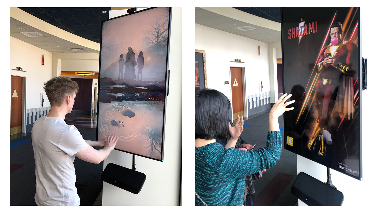 Ultraleap interactive digital posters for La Larona and Shazam with haptics and tracking