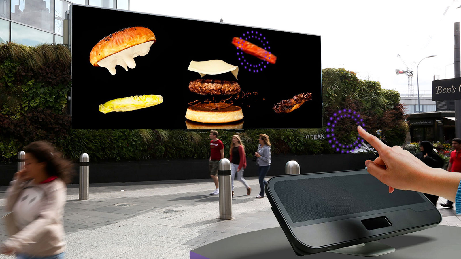 Touchless outdoor advertising DOOH screen