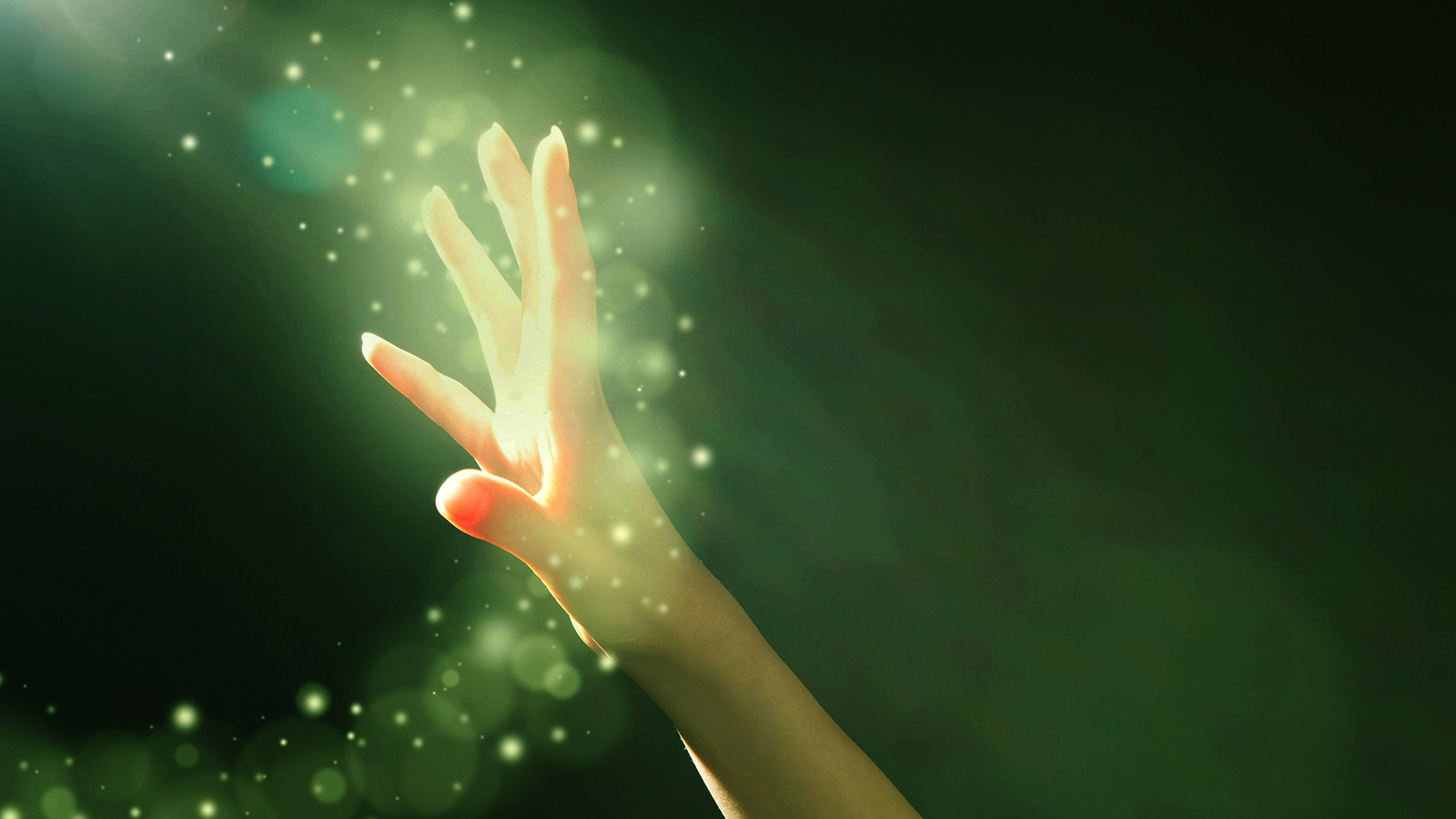 Magic particles with a hand