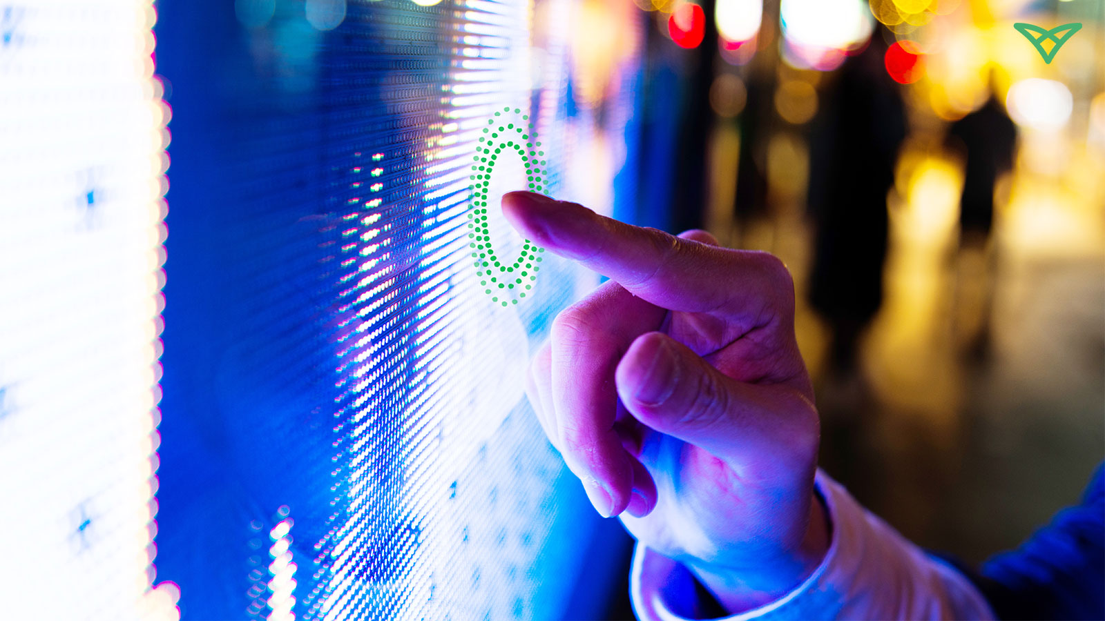 Consumer interacting with touchless technology with a public touchscreen