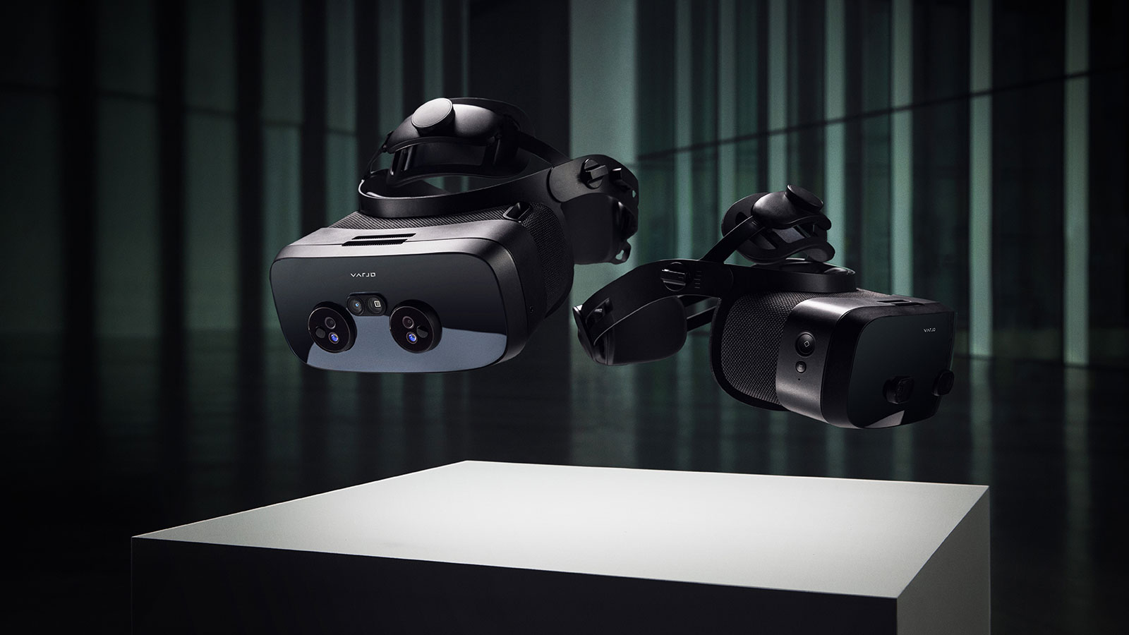Varjo XR3 and VR3 headsets floating mid-air