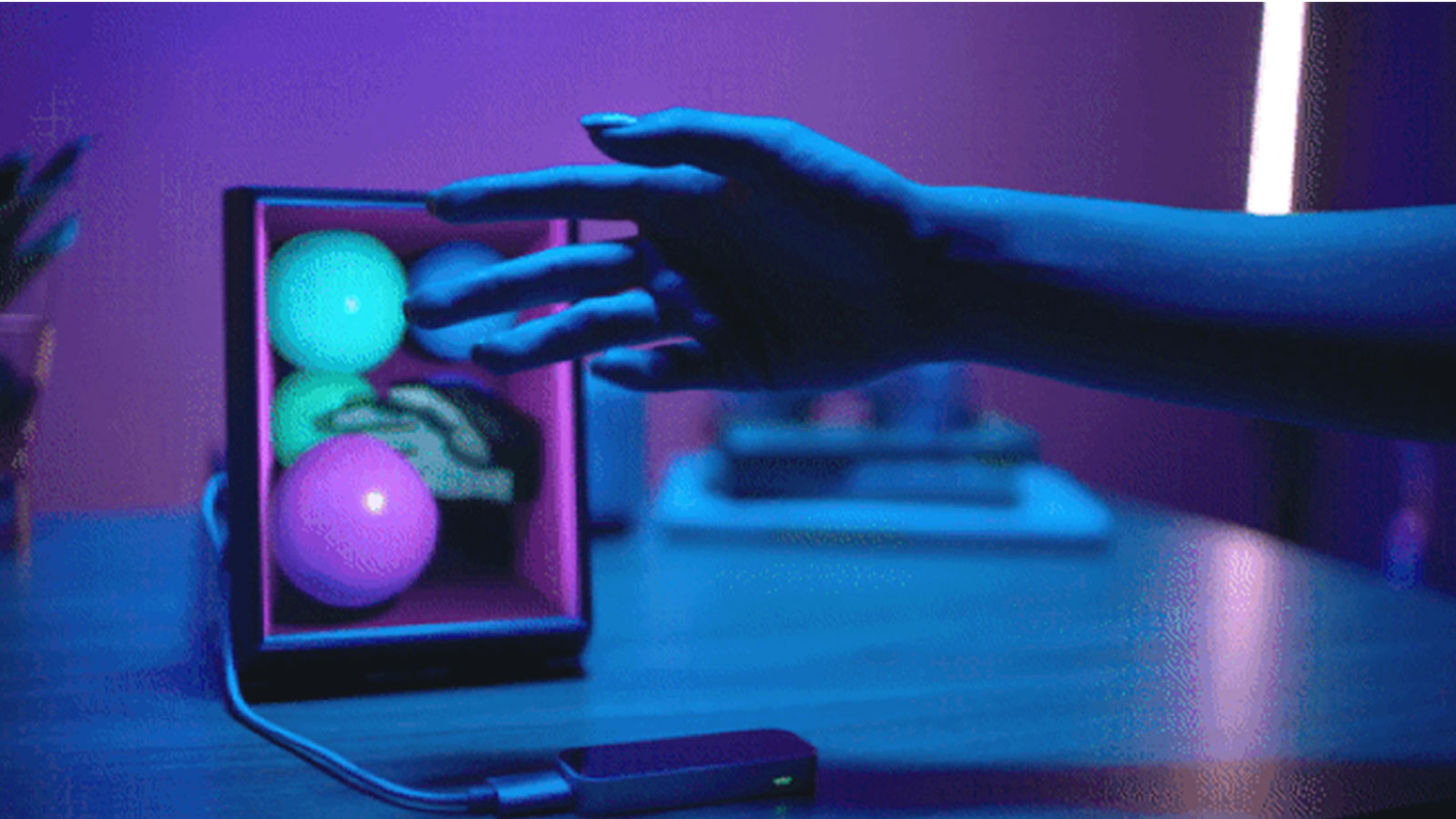 Hand interacting with Ultraleap Leap Motion Controller