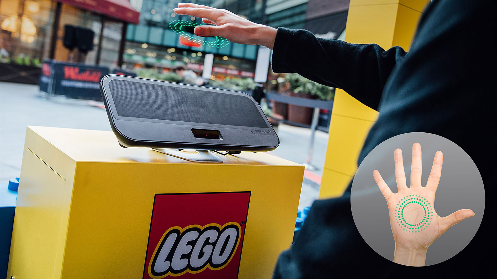 LEGO using Ultraleap haptics technology for an interactive experience on a persons hand
