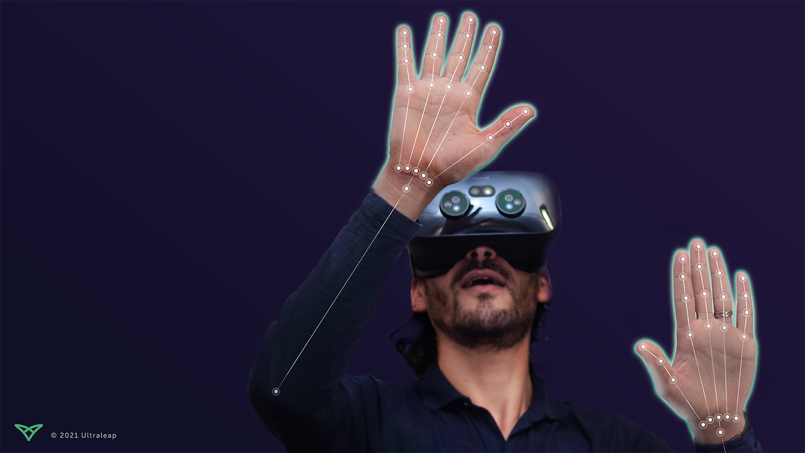 Man wearing Varjo XR3 headset with Ultraleap's vr hand tracking