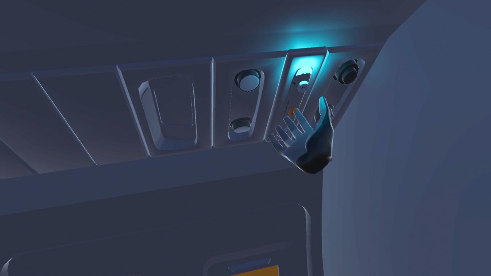 Virtual Reality flight simulator training with hand pressing button